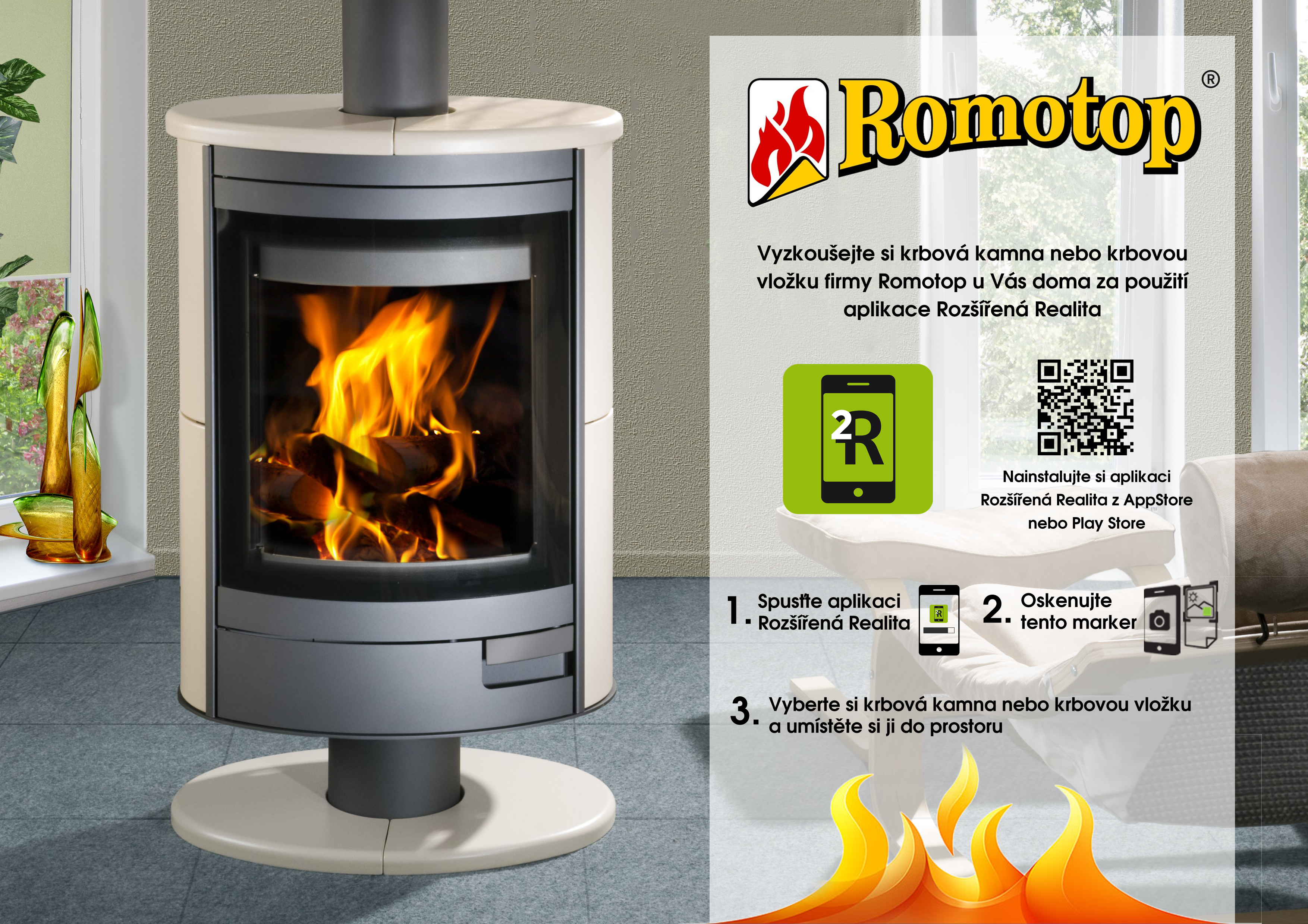 Romotop fireplaces. Put a fireplace to your living room