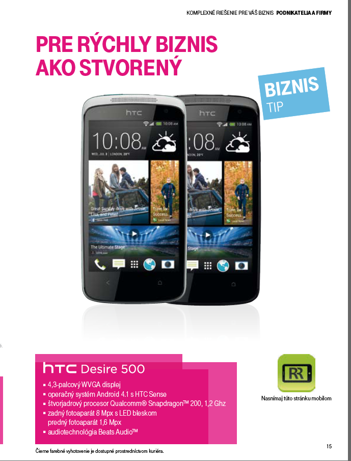 Telekom business leaflet HTC Desire 500
